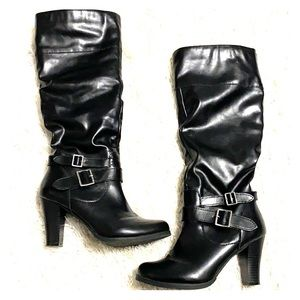 Style&Co Black Knee High Biker Buckle Heel Boots